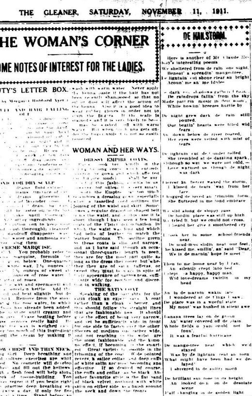 Poem by Claude McKay Published in Daily Gleaner November 11 1911
