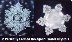 hexagonal scalar torsion-wave structured frozen water crystals