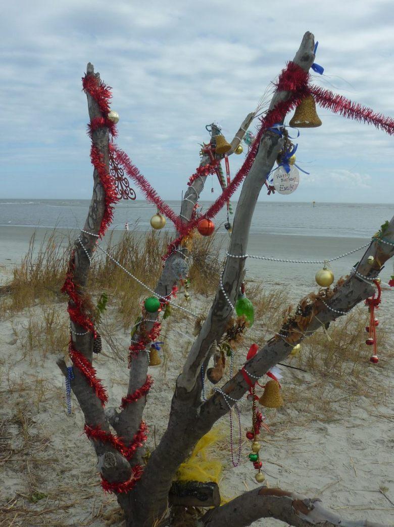 Residents on St. Simons Island, Georgia, decorated a tree on East Beach for the Christmas season Photos by Jackie Bufkin.