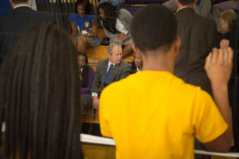 George W. Bush at Warren Easton High School in New Orleans. Photos by Nik Nerburn.