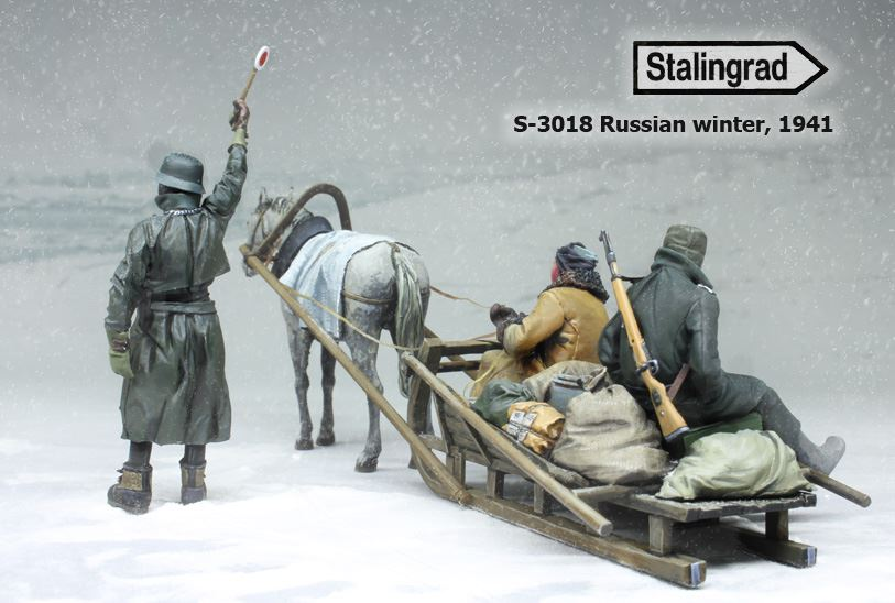 1/35 Russian winter, 1941 (three figures, horse and sledge) #3018