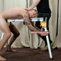 BreederFuckers - Hot Lad Aaron Tied To A Work Bench & Gets His Virgin Hole Abused