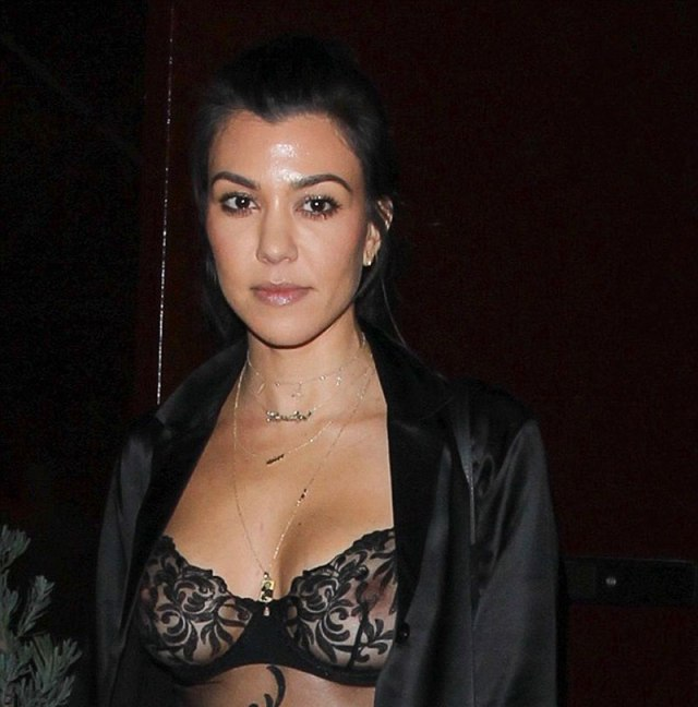 Kourtney Kardashian Boobs In Sheer Top