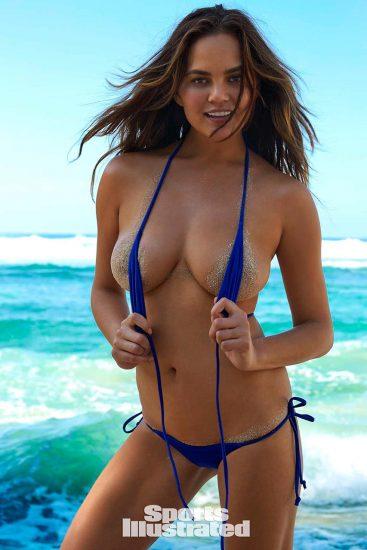 Chrissy Teigen tits in tiny blue bikini