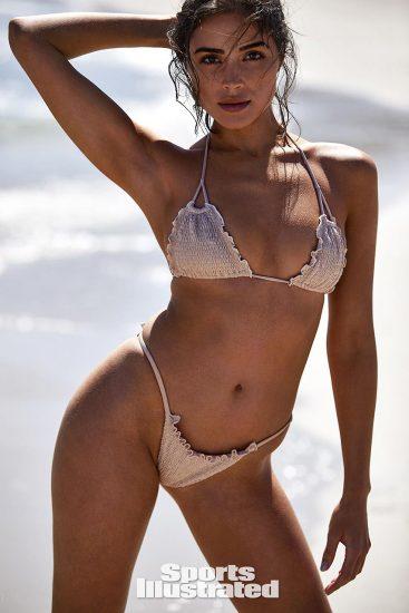 Olivia Culpo white lingerie