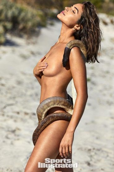 Olivia Culpo topless with snake