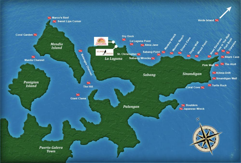 Puerto Galera Maps Places of Interest Scuba Diving Sites Scandi