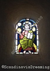 Elmelunde church staind glasses window Christ in majesty