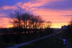 Coucher de soleil d'hiver sur Zagreb