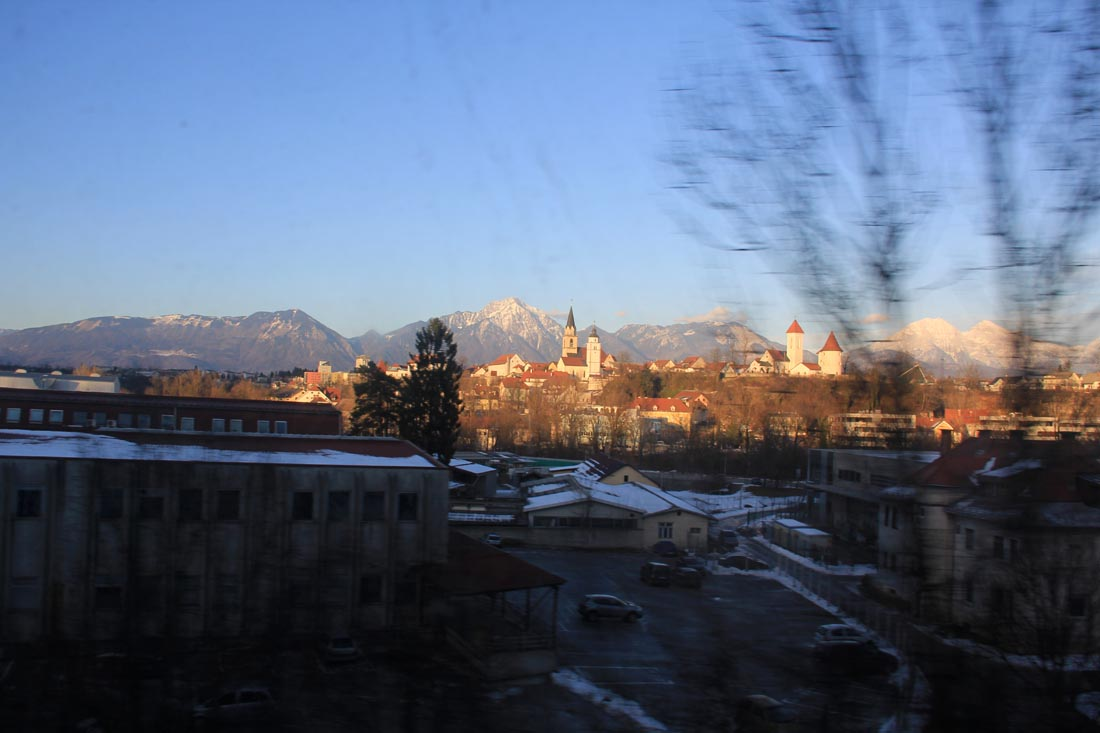 Ville de Krajn entre Ljubljana et l'Autriche