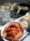 Assiette de crevettes sur le port de Dragør