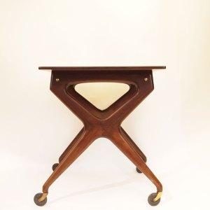 Table d'appoint danoise à roulettes années 50
