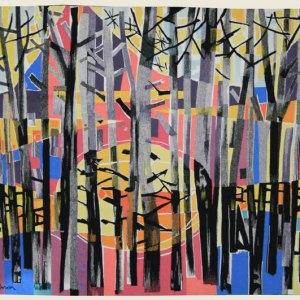 Tapisserie POIRIER (XXe) « soleil couchant en forêt »