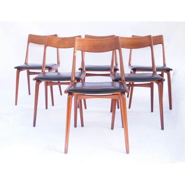 Superbe ensemble de 6 chaises danoise boomerang, Alfred