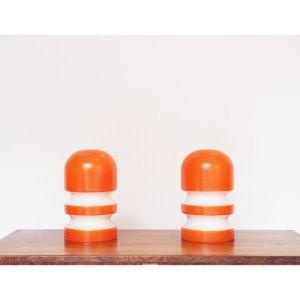 Paire de lampes opaline blanche et orange, Italie, vintage