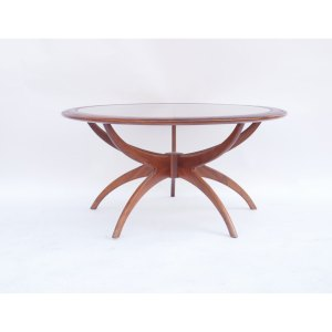 Table basse ronde « spider » années 50, scandinave