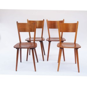 Lot de 4 chaises vintage 60 70, pieds compas