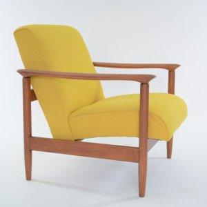 Fauteuil cubique vintage, jaune