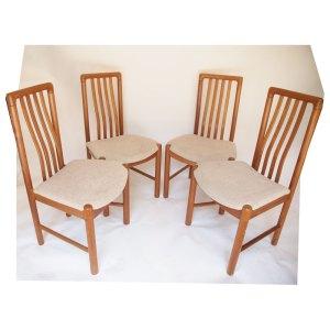 4 chaises scandinave, danoise vintage années 60
