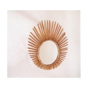 Miroir en rotin, vintage 60 70 #3