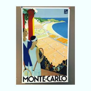 Affiche vintage Monte Carlo tennis