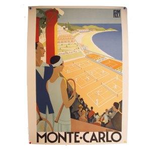 Affiche lithographie vintage, Monte Carlo