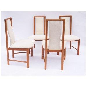 Ensemble de 4 chaises blanches scandinaves danoises vintage