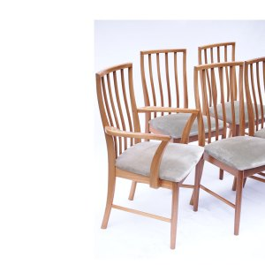 Ensemble de 6 chaises McIntosh vintage scandinave