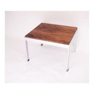 Table basse vintage scandinave palissandre et métal chromé