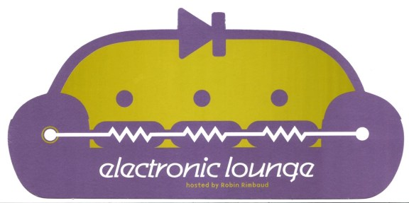 Highly designed graphic of a lounge chair in purple, with the text 'electronic lounge, hosted by Robin Rimbaud' across the front