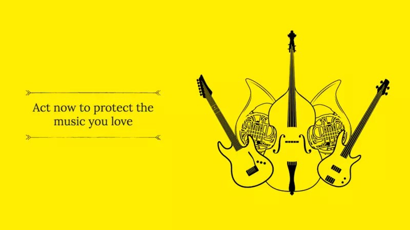 Yellow box, with an illustration of musical instruments, two guitars, trombones and a cello. To the left of them is a text 'act now to protect the music you love'