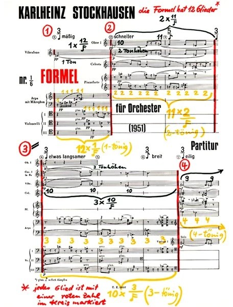 A complex and detailed colourful music score with the name Karlheinz Stockhausen across the top. Handwriting in yellow and red colours can be seen around and on the score itself