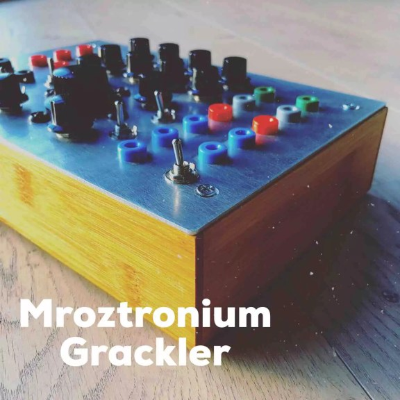 A wooden box with a metal top sits on the floor. The top of the box is busy with blue, red, grey, green and black switches and knobs. Underneath the image a text reads Mroztronium Grackler