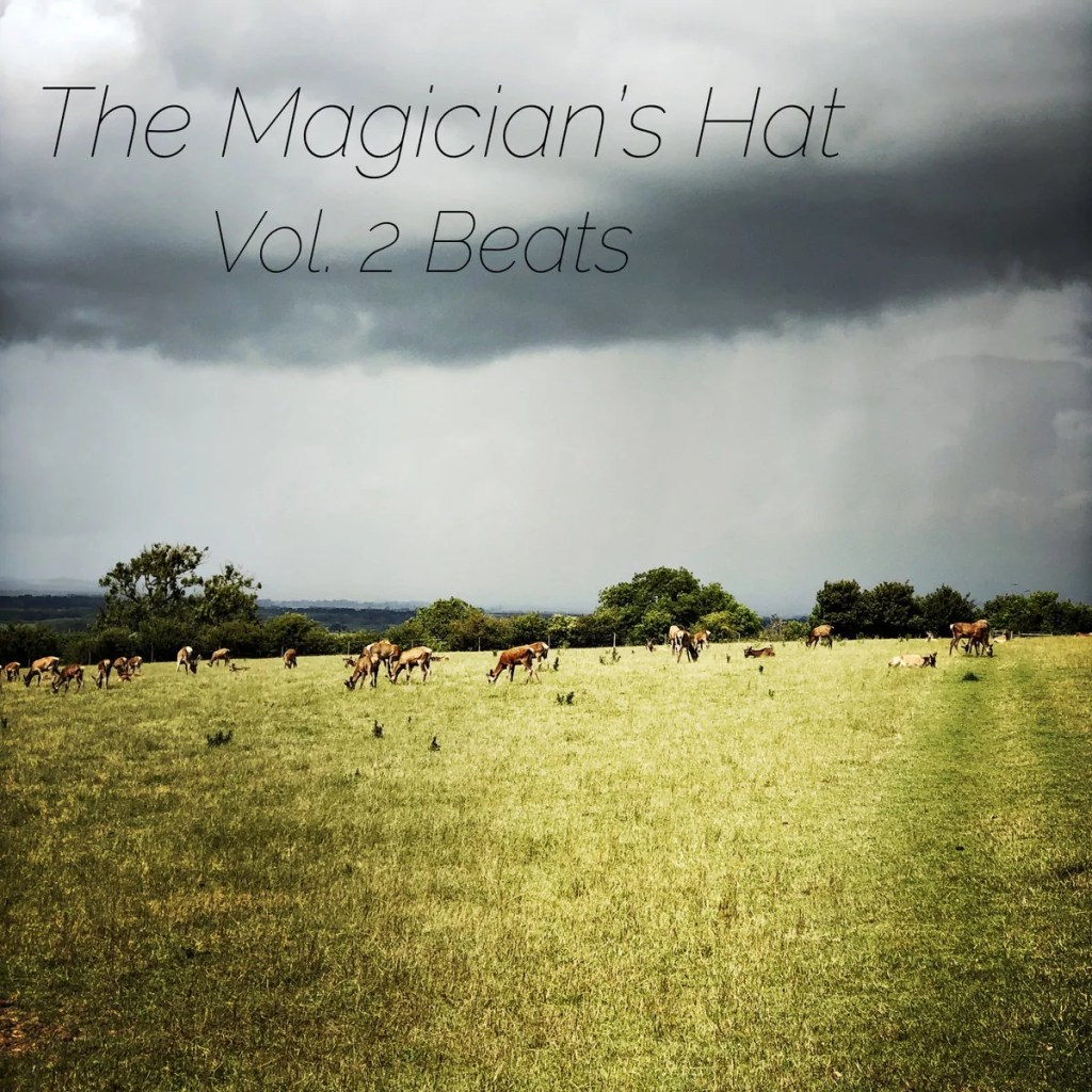 Colourful image of deer in a huge part, very dramatic lighting, with a heavy cloudy sky and sun breaking through onto the grass. A text across the top reads The Magician's Hat Vol 2 Beats