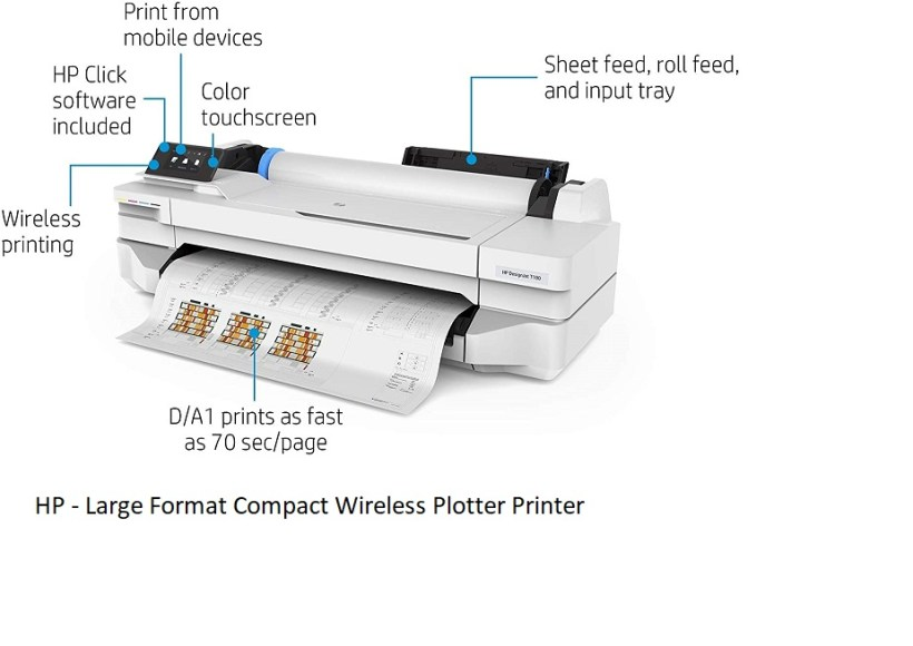 HP DesignJet T100 Large Format Compact Wireless Plotter Printer 24 inch with Mobile Printing 5ZY56A