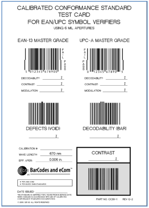 calibrated conformance test cards ensure barcode versifiers are always within specification