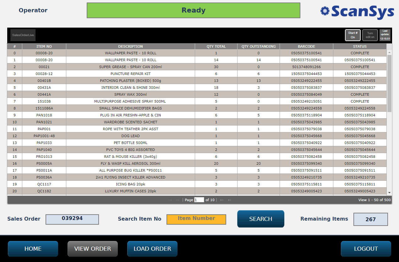 fully automatic checking of pick list and sales orders