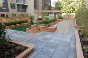 Commercial hardscape from Scape-Abilities with slate and hardwood