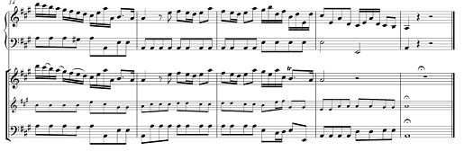 End of the Violin Sonata in A major (2 upper lines) and RV 205