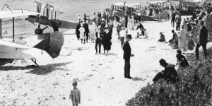 Image of Airplanes on Beach, Scarborough, 1921