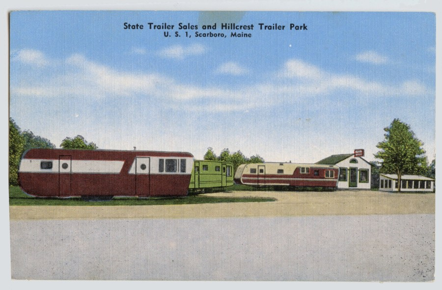 "Post card of ""State Trailer Sales & Hillcrest Trailer Park"" circa 1950s."