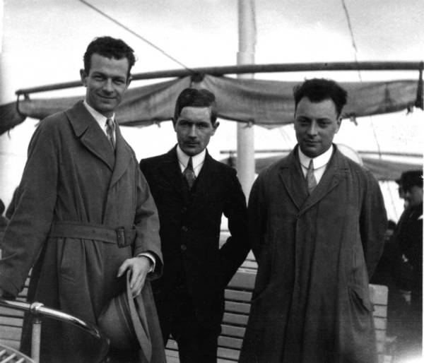 Linus Pauling, Werner Kuhn, and Wolfgang Pauli traveling by boat in Europe. 1926.