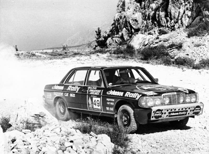 Tony Fowkes and his co-driver Peter O'Gorman finish the 1977 London–Sydney Rally in second place. This picture shows their Mercedes-Benz 280 E during a stage in southeastern Europe.