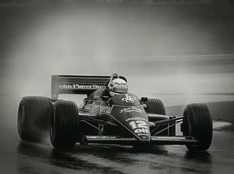 Ayrton Senna driving the JPS Lotus 97T in the Estoril Grand Prix of 1985