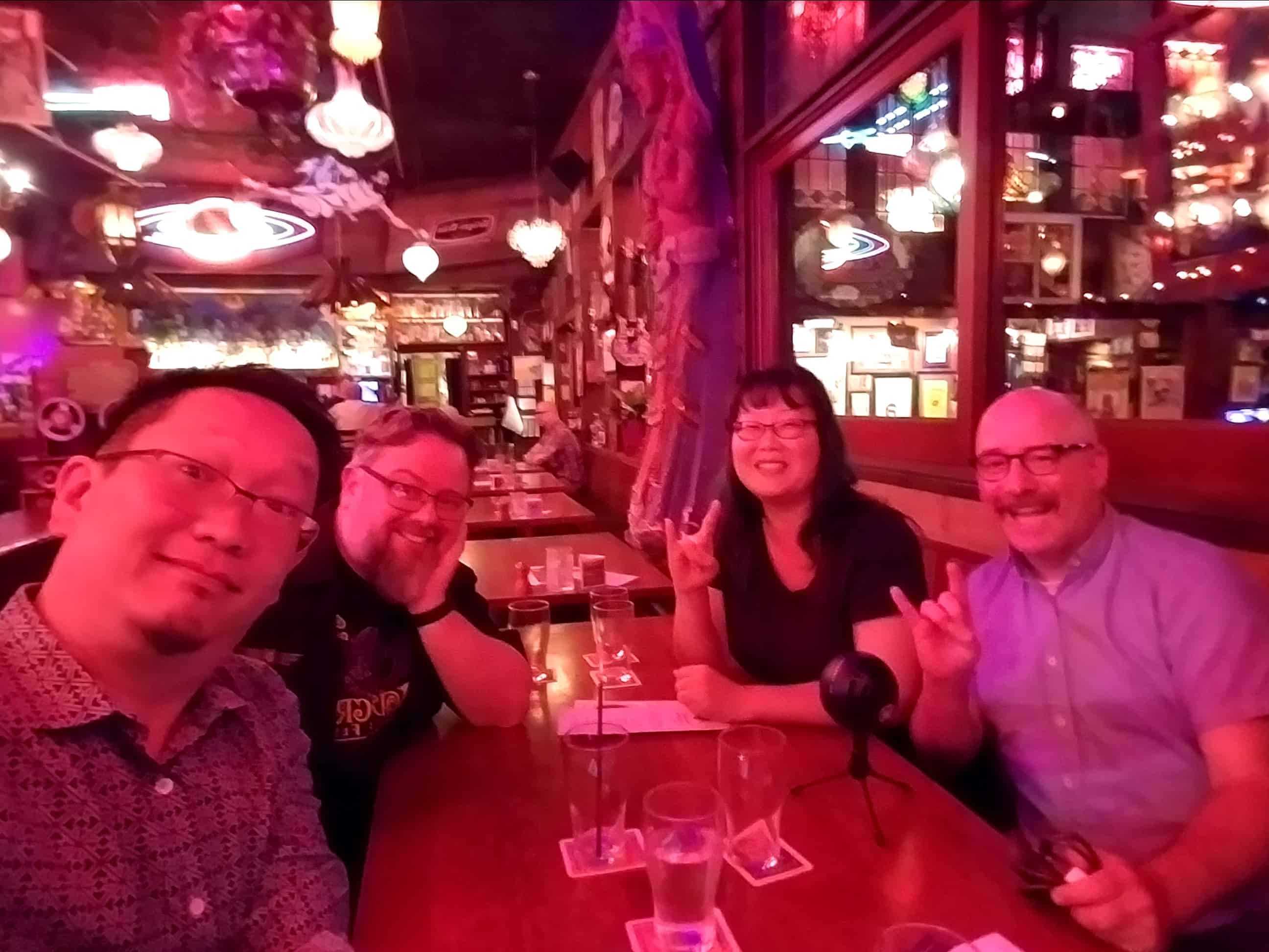 An almost in-focus selfie with Eric, Brian, Gwen, and Mike who gathered at the Barley Mill Tavern to talk about frightening films and the festival in PDX that celebrates them.