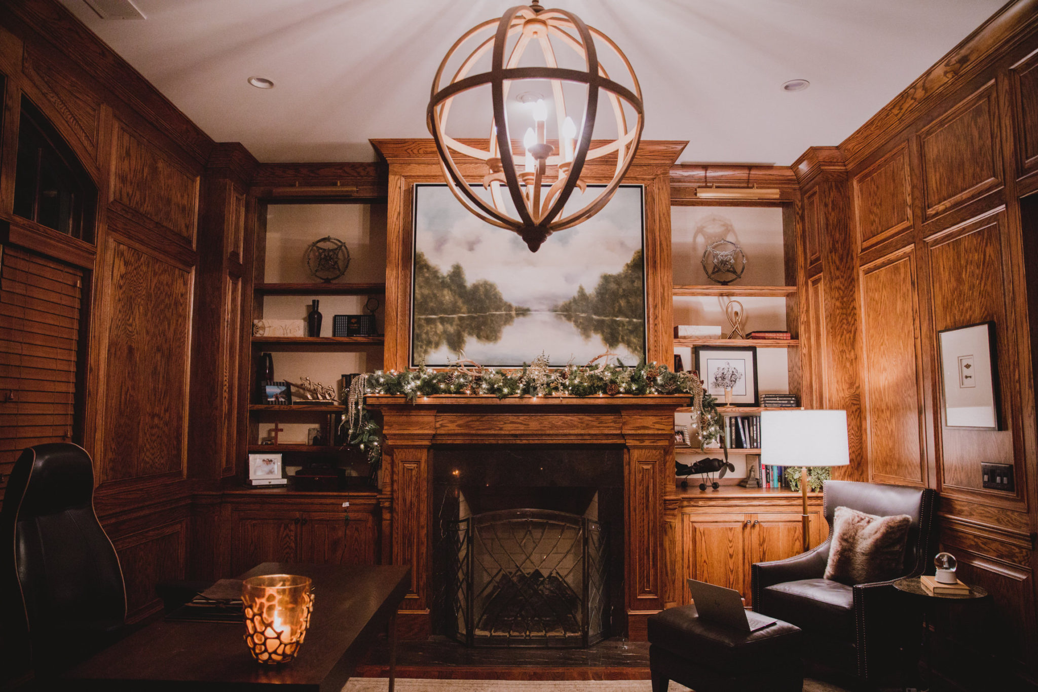 masculine smoking room with holiday greenery