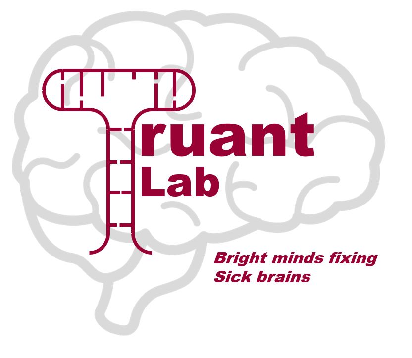 "Truant lab logo of a brain. ""Bright minds fixing sick brains"""