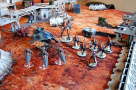 Simon's 700pts of Eldar. A spiritseer with five Wraithguards equipped with D-Scythes, three Jetbikes all armed with Shuriken cannons, a Wave Serpent, and a Wraithlord.