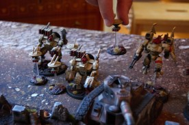 Heavy weapon squads, Tauros grenade launchers and missile launcher fire removes some of Jacob's drones which keeps the Broadsides unharmed for the entire shooting phase!