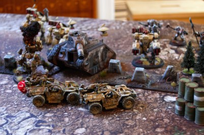 Tauros assault buggies moves across the battlefield at high speed to chase down the Recon drone who managed to survive the Vulture strafing the Pathfinders.